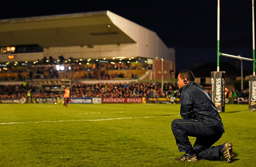 Connacht head coach Pat Lam watches the action during the closing stages of his team's victory against Munster