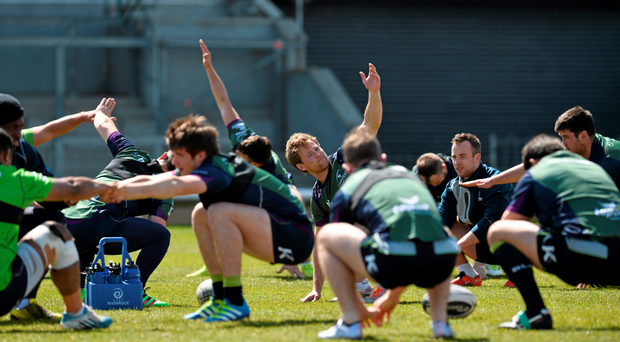 Connacht players do their stretching exercises during training at the Sportsground this week (SPORTSFILE)