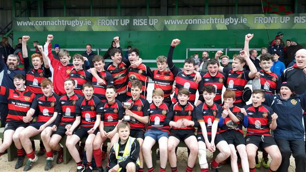 Monivea U-14s celebrate their Connacht Cup triumph