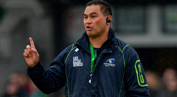 Pat Lam issues instructions during Connacht's victory over Glasgow. Photo: Sed Daly/Sportsfile
