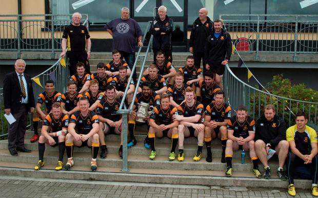 Buccaneers players and mentors celebrate their Connacht Senior League title triumph over Galwegians last weekend