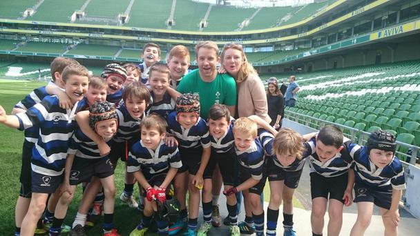 Pictured are the Corinthians U-10 and U-11 boys at Aviva Stadium with former Ireland international Luke Fitzgerald.