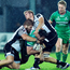 Denis Buckley is tackled by Zebre's Federico Ruzza and Pietro Ceccarelli as the rain begins to fall in Parma last Saturday. Picture: Sportsfile