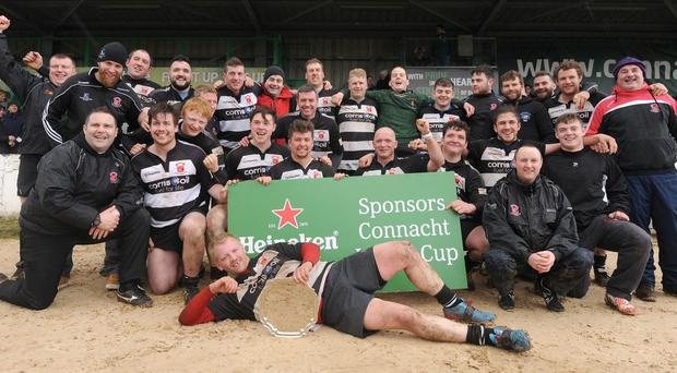 Ballinrobe RFC celebrating Junior Plate win over Dunmore