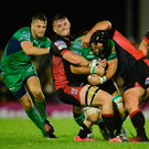 Connacht's John Muldoon is tackled by Edinburgh's Magnus Bradbury and Ross Ford in the Westerners' first Pro12 win this season. Picture: Sportsfile