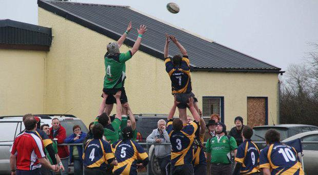 Ballinasloe RFC try to claim possession at the lineout