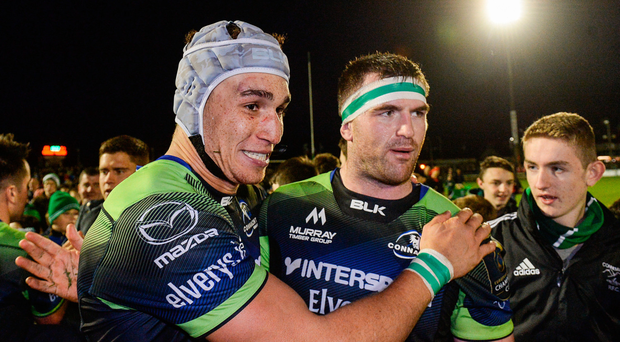 Connacht haven't been home since the high of beating Ulster and Toulouse (Ultan Dillane and Andrew Browne celebrate above). Photo: Sportsfile