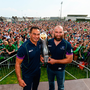 John Muldoon and Pat Lam with the Pro12 trophy during the Connacht homecoming last May. Photo: Sportsfile