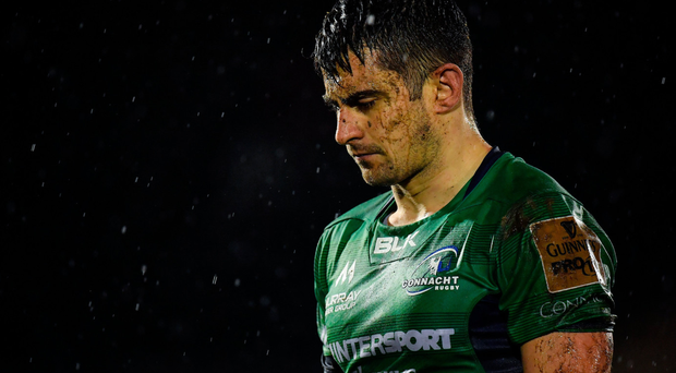 Tiernan O'Halloran is a picture of dejection after the defeat by Munster. Photo: SPORTSFILE