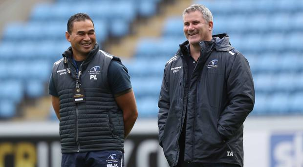 Pat Lam and Tim Allnutt, pictured during a training session, hope to go to France boosted by victory over Zebre