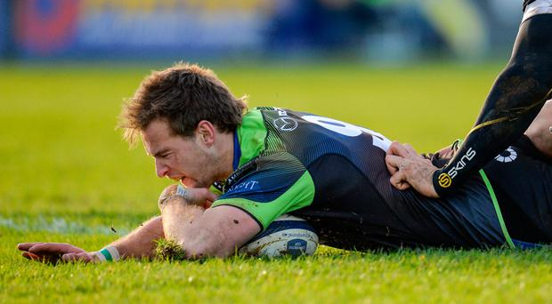 Kieran Marmion scores the ninth try in last weekend's Zebre demolition. Photo: Seb Daly/Sportsfile