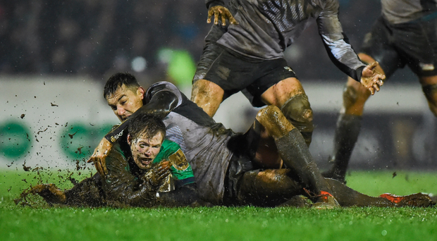 Kieran Marmion, being tackled by Lloyd Greeff of Zebre, and his team-mates will be glad of the break Photo by Matt Browne/Sportsfile