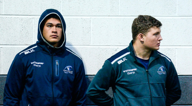 The Irish-qualified tighthead Dominic Robertson-McCoy, pictured alongside his Connacht team-mate Josh Pim, is loving life in Ireland Photo by Seb Daly/Sportsfile