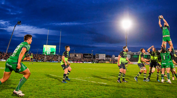 Connacht lining out against Leinster in the Sportsground which also saw John Muldoon register his 300th provincial appearance. Photo: Stephen McCarthy/Sportsfile