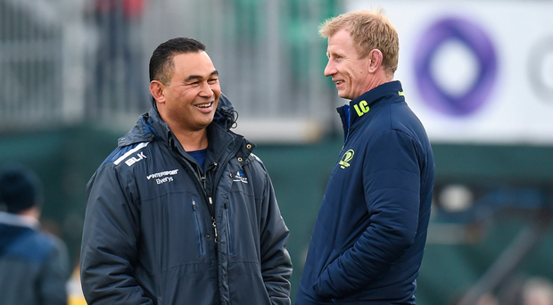 Pat Lam in conversation with Leo Cullen before Saturday's clash in the Sportsground. Photo: Seb Daly/Sportsfile
