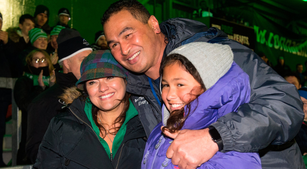 Pat Lam with his wife Stephanie and daughter Bethany after the defeat to Scarlets. Photo: Sportsfile