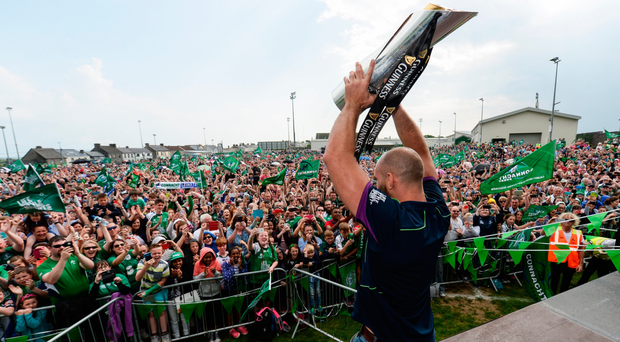 John Muldoon lifts the Pro 12 trophy after victory in last year's final, however this season has not been as successful Picture: Sportsfile