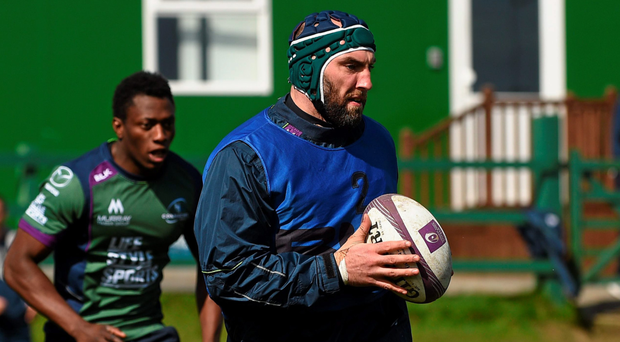 John Muldoon, here in action at training, acknowledges that it is vital Connacht get back into the Champions Cup next season and says the players are firmly focused on the upcoming play-offs Picture: Sportsfile