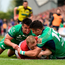 Munster's Keith Earls is stopped short of the try line by Connacht duo Cian Kelleher, left, and Tiernan O'Halloran Picture: BRENDAN MORAN/SPORTSFILE