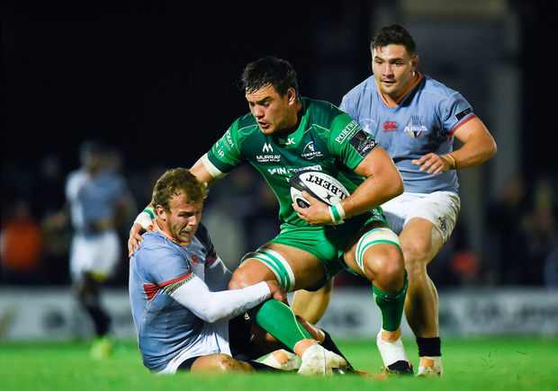 Quinn Roux being tackled by Rudi van Rooyen of Southern Kings and, right, Connacht head coach Kieran Keane and captain John Muldoon SPORTSFILE