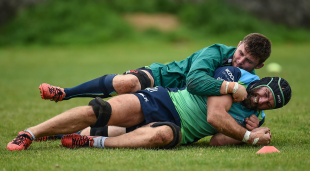 Eoghan Masterson and John Muldoon hard at work during training. Picture: Sportsfile