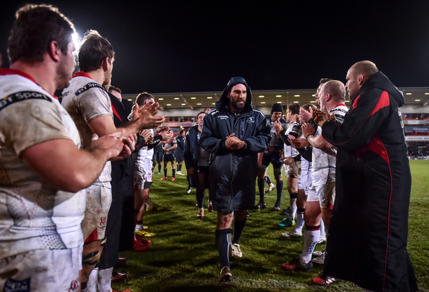 Connacht captain John Muldoon and his team are applauded off the pitch by the Ulster team following the Guinness PRO12 Round 11 match between Ulster and Connacht at the Kingsman Stadium in Belfast. Photo by Ramsey Cardy/Sportsfile