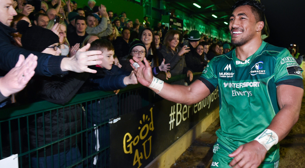 Bundee Aki celebrates a job well done against Munster. Photo: Sportsfile