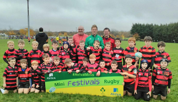 Monivea U-10s with Kieran Marmion, their coaches Pearse Timothy and Mike Gannon at the Connacht Aviva blitz recently