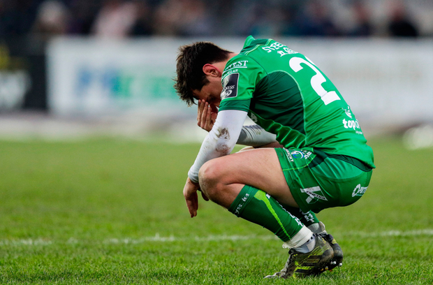 James Mitchell is dejected after the Pro14 defeat to Zebre – it's a long trip back to Galway after a result like that. Photo: Sportsfile