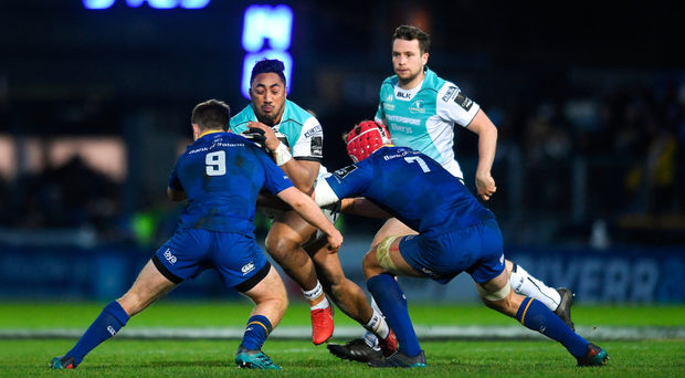 Bundee Aki of Connacht is tackled by Luke McGrath, left and Josh van der Flier of Leinster during the Guinness PRO14 Round 12 match between Leinster and Connacht at the RDS Arena in Dublin. Photo by Eóin Noonan/Sportsfile