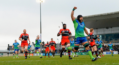 John Muldoon celebrates Connacht's try against Oyonnax and, starting against Ospreys, he and his team-mates will hope to gain momentum ahead of the quarter-final. Picture: Sportsfile