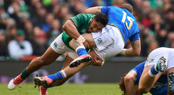 Bundee Aki has been on form in the green of Ireland as well as Connacht. Photo: Sportsfile
