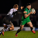 Connacht's Cian Kelleher is tackled by Zebre's Giulio Bisegni during last week's defeat by Zebre. Photo: Sportsfile