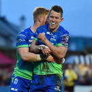 Matt Healy with team-mate Darragh Leader after scoring his side's fourth try against Brive in the Challenge Cup