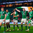 Bundee Aki celebrating with Jordi Murphy, Garry Ringrose, Jonathan Sexton, Dan Leavy and Conor Murray after their Six Nations victory Ramsey Cardy/Sportsfile