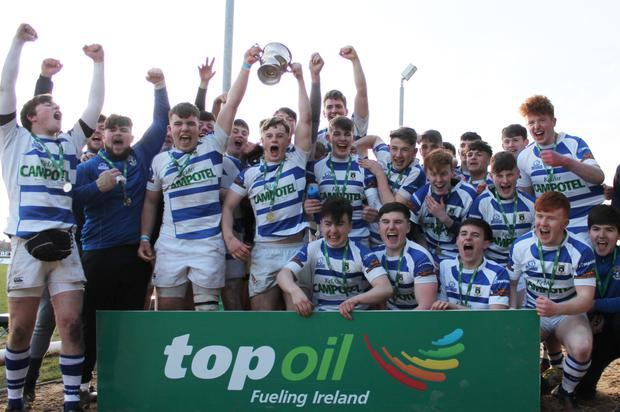 Garbally College players celebrate their Connacht Schools Senior Cup triumph