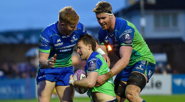 Cillian Gallagher (right) with Darragh Leader (left) and Kieran Marmion during the Challenge Cup clash with Brive back in December. Photo: Sportsfile
