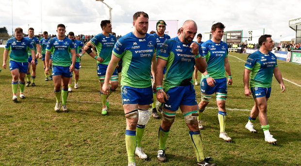 Connacht captain John Muldoon, right, and Eoin McKeon leave the field following the European Rugby Challenge Cup Quarter-Final match between Connacht and Gloucester at the Sportsground in Galway. Photo by Seb Daly/Sportsfile