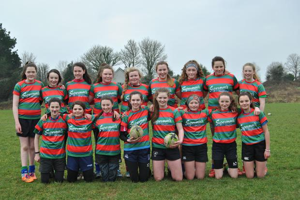 Pictured are the combined Oughterard and Tuam U-15 girls who reached the semi-final of the Connacht Cup in their first season together.