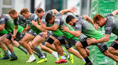 Players hard at work at the Sportsground. Photo: Sportsfile