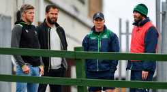 Ireland forwards coach Simon Easterby, defence coach Andy Farrell, Andy Friend and Connacht defence coach Peter Wilkins at training this week. Photo: Harry Murphy/Sports