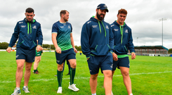 Connacht players, from left, Paul Boyle, Eoin McKeon, Peter McCabe, and Dominic Robertson-McCoy prior to the Pre-season Friendly match between Connacht and Wasps at Dubarry Park in Westmeath. Photo: Sportsfile