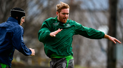 Cillian Gallagher putting in the hard yards at training. Photo: Sportsfile