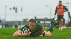 Eoin Griffin scores a try against Zebre. Picture: Sportsfile