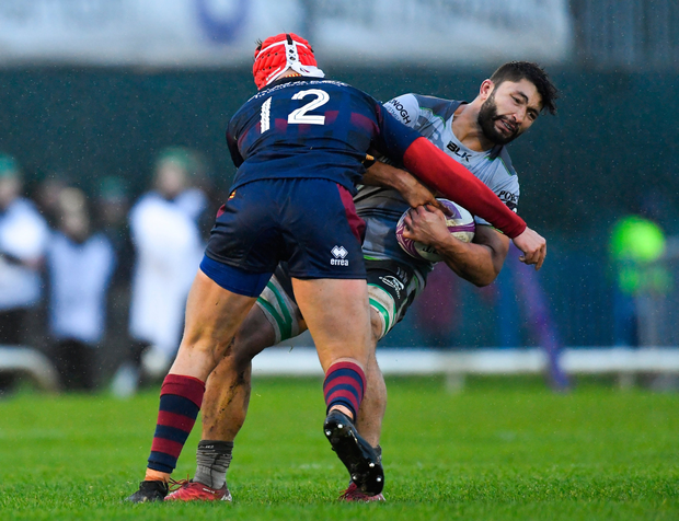 Colby Fainga'a of Connacht is tackled by Paul Marty of Perpignan. Picture: Sportfile