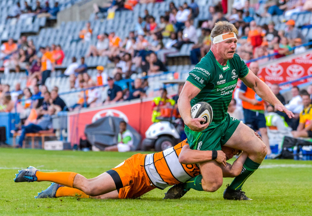 Tom McCartney of Connacht is tackled by William Small-Smith of Toyota Cheetahs during the Guinness PRO14 Round 10 match between Toyota Cheetahs and Connacht at Toyota Stadium in Bloemfontein, South Africa. Photo by Frikkie Kapp/Sportsfile
