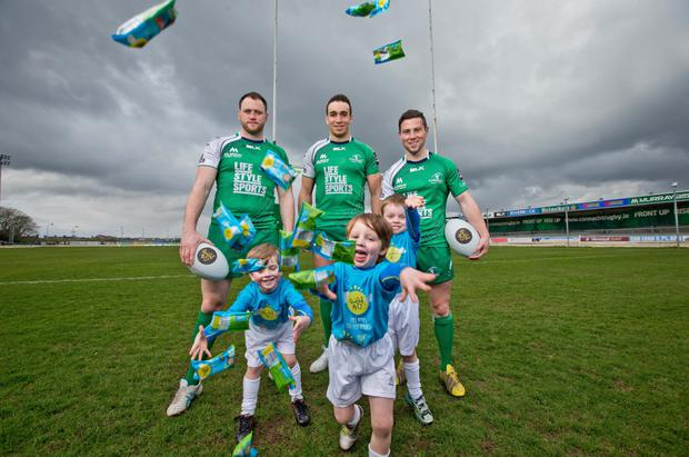 Eoin McKeon, Ultan Dillane and John Cooney at the launch of Good4U as the official snack supplier to Connacht Rugby Photo: INPHO/Morgan Treacy