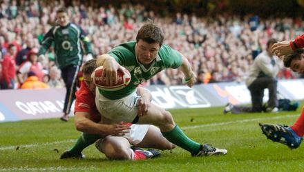Brian O'Driscoll scores Ireland's second try during the Six Nations match against Wales at the Millennium Stadium in February 2007