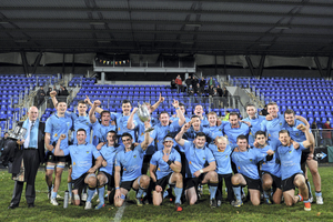 15 November 2013; The UCD players celebrate with the cup after the game. Leinster Senior League Cup Final, Terenure v UCD, Donnybrook Stadium, Donnybrook, Dublin (Ramsey Cardy / SPORTSFILE)