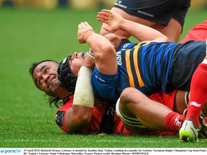 The sight of Richardt Strauss slapping Jocelino Suta's arm, or 'tapping out' as it is called in MMA, after this tackle is as desperate a thing as we've seen on a rugby field. Photo: Brendan Moran